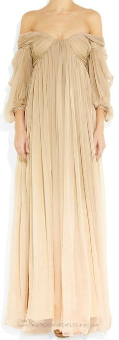 Off the shoulders, nude colored dress.