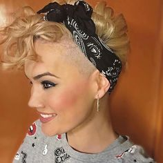 @sandra_sinh Who else rocks a bandana or headband with their short hair?? #hair #haircut #hairstyle #undercut #pixiecut #shorthairlove #shorthair #bandana