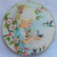 Girl Bluebirds Apple Blossoms Bird Vtg Greeting Card Glittered Wood Ornament