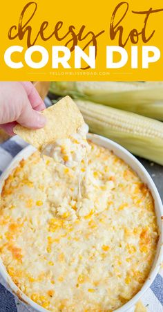 Cheesy Hot Corn Dip This Cheesy Hot Corn Dip is a creamy, cheesy delicious dip that's perfect for all your summer parties. It's great for tailgating, too! - Everything About Appetizers Appetizer Dips, Yummy Appetizers, Appetizers For Party, Appetizer Recipes, Picnic Recipes, Dip Recipes For Parties, Food For Parties, Crock Pot Appetizers, Snacks For Party