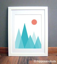 Mountain Print, Aqua Blue Mountains, Geometric Triangle Print, Turquoise Triangles, Geometric Print Printable Art Download by hipposandnuts on Etsy https://www.etsy.com/listing/204782465/mountain-print-aqua-blue-mountains