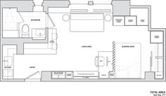 NYC Studio Apartment / 340 sq ft / designed by architect Stephen Killcoyne. / Great photos ...and lots of inspiration for a free-standing small home! Stephen Killcoyne.