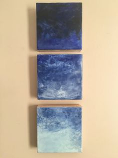 "Original Encaustic Art ""Out To Sea"" 6x18 (3-6x6)  abstract mixed media encaustic painting ocean sea water"