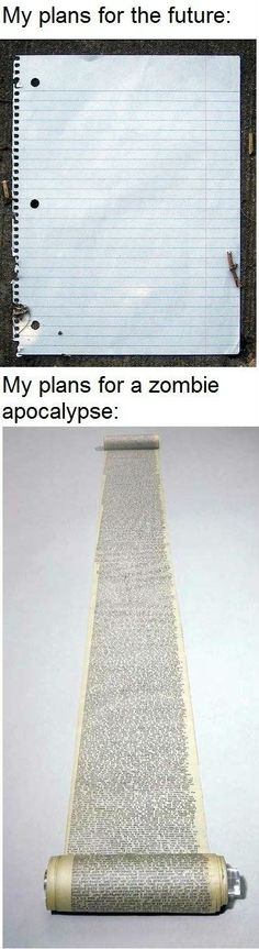 My plans for the future vs. my plans for the Zombie Apocalypse...