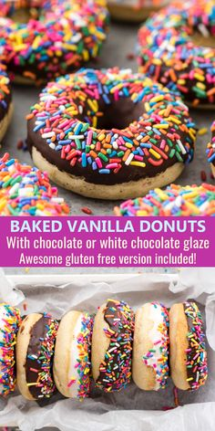 Baked Vanilla Donuts This is hands down our favorite baked vanilla donut recipe! Easy to make donuts at home with options for chocolate or white chocolate glaze, we love adding lots of sprinkles! Tried and true recipe with an amazing gluten free option. Patisserie Sans Gluten, Dessert Sans Gluten, Gluten Free Desserts, Gluten Free Baking Recipes, Bread Recipes, Beignets Sans Gluten, Donuts Beignets, Donuts Donuts, Vanilla Donut Recipes