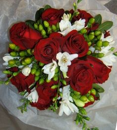 Beautiful Red and White Wedding Bouquet. By Breezewood Floral