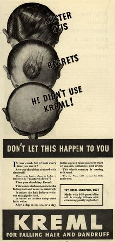 """MISTER OTIS REGRETS HE DIDN'T USE KREML! DON'T LET THIS HAPPEN TO YOU. ... KREML for falling hair and dandruff."""