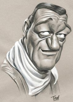 (The Duke) John Wayne (Caricature) http://dunway.us. For more great pins go to @KaseyBelleFox