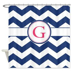 Navy Chevron Monogram G Shower Curtain on CafePress.com