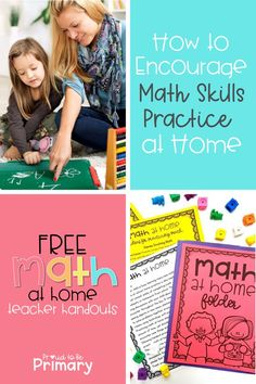 Encourage math skills practice at home with these helpful tips, ideas, and suggestions. You'll find engaging and fun learning strategies, such as educational math apps, ideas for math talks and play-based activities, and a FREE printable math folder, parent letter, and list of helpful math practice suggestions. #mathforkids #teacherfreebie #teachingmath #mathactivitiesforkids