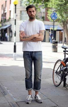 cropped Street Style Fashion Photography on FashionBeans New balance sneakers streetstyle fashion men tumblr beard tattoo