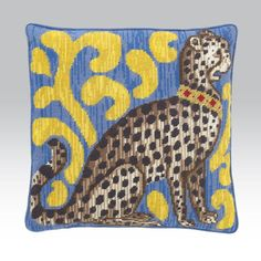 """Candace Bahouth needlepoint """"Cheetah""""  Ehrman Tapestry (change background colors and maybe design)."""
