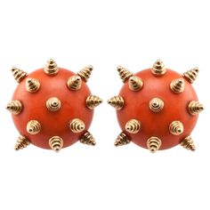 "TIFFANY Coral ""Sea Urchin"" Earclips 