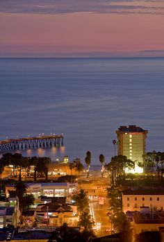 View of Downtown Ventura, the Ventura Pier and the Pacific Ocean.