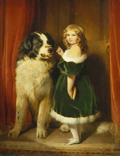 """Princess Mary of Cambridge with Nelson, a Newfoundland dog"", Sir Edwin Landseer, before June 1839; Royal Collection Trust 402300. Princess May of Teck's (later Queen Mary as wife of George V) mother, and probably her most flattering likeness."