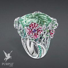 "Check this treasure! This ""Épi de blé"" ring in white gold diamonds green beryl rubies emeralds tsavorite garnets and amethysts by @dior #purplebyanki #diamonds #luxury #loveit #jewelry #jewelrygram #jewelrydesigner #love #jewelrydesign #finejewelry #luxurylifestyle #instagood #follow #instadaily #lovely #me #beautiful #loveofmylife #dubai #dubaifashion #dubailife #mydubai #Ring #WhiteGold #GreenBeryl #Rubies #Emeralds #Garnets #Amethyst"