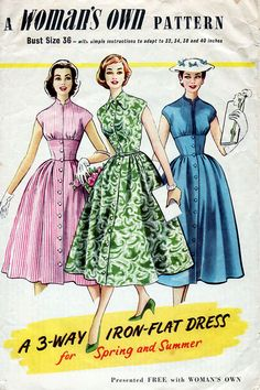 1950s Shirt Dress Pattern Woman's Own 3-Way Iron by BessieAndMaive