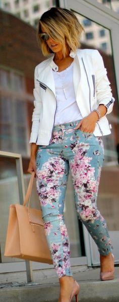 Floral pants + white top + White jacket !