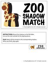 2 Teaching Mommies: The Zoo shadow match game Zoo Preschool, Preschool Centers, Preschool Education, Kindergarten, Groundhog Day Activities, Book Activities, Preschool Activities, 5 Year Old Crafts, Abc Zoo