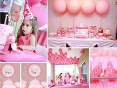 I love the 4 balloons lined up above the dessert table and all of the balloons at the ceiling.  Ethan's balloons won't be pink, of course!