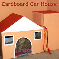 DIY Cardboard Cat House - The kids can make this cool house for their furry friends!