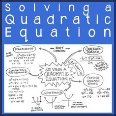 Solving a Quadratic Equation - 5 Method Overview Math Figures, Maths Algebra, Algebra Help, Solving Linear Equations, Math Notes, Middle School Writing, Simple Math, Teaching Math, Teaching Ideas