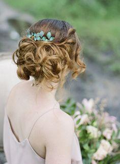 Rustic Hair Piece Green Leaf Comb Bridal Headpiece Head Piece