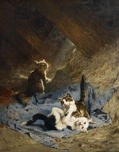 The Athenaeum - Kittens Playing in the Hay (Julius Adam - )