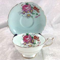 Paragon-Floral-Spray-Blue-Background-Vintage-Porcelain-Teacup-Cup-Saucer-Set