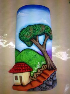 Teja tipica Clay Art Projects, Clay Crafts, Projects To Try, Tile Art, Mosaic Art, Cute Cartoon Wallpapers, Painted Rocks, Wall Murals, Decoupage