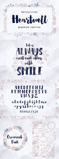 Heartwell Typefaces is a modern calligraphy brush typefaces. Inspired by the modern calligraphy lettering and try to create them with brush & ink. This fonts Hand Lettering Alphabet, Calligraphy Letters, Typography Letters, Brush Lettering, Lettering Design, Modern Calligraphy, Brush Font, Hand Drawn Fonts, Cute Fonts