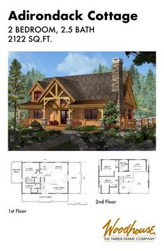 At 2,122 square feet, this classic timber frame home plan is a fan favorite! Timber, stone, log siding, and twig details typify the Adirondack style initiated by the industrialists and financiers early in the last century. Download the floor plan below!
