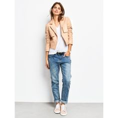 hush Austen Leather Jacket, Nude (€330) ❤ liked on Polyvore featuring outerwear, jackets, white jacket, cropped jacket, long sleeve jacket, collared leather jacket and white leather jacket