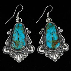 Leon Martinez (Navajo) Turquoise & Sterling Repousse Earrings