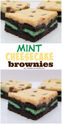 Brownies topped with mint cookies, cheesecake, and mint chips.  Good luck only eating one!!!