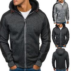 Mens Hoodie Warm Zip Hoody Hooded Sweatshirt Coats Jacket Outwear Sweater Jumper #menswear #mensfashion #deals
