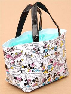 white Disney comic lunch bag Mickey Mouse Minnie Mouse