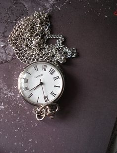 10% OFF of all items, please use coupon code: READYTS at check out •:Silver Pocket Watch Necklace Bronze Pendant by Azuraccessories, $6.33