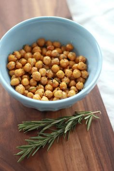 Crispy Rosemary Chickpeas (garbonzo beans) Watch them carefully while they are in the oven. 375 for about 40 mins/or crunchy. Virgin Diet friendly