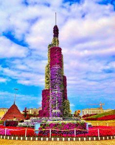 The Burj Khalifa made out of flowers at the Dubai Miracle Garden