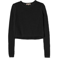 Rebecca Taylor Mesh Cropped Pullover ($179) ❤ liked on Polyvore featuring tops, sweaters, shirts, crop tops, black, colorblock sweater, pullover sweater, mesh crop top, ribbed sweater en color block shirt
