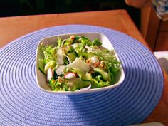 Zucchini Salad (Alton Brown) - peel the zucchini into strips and salt, becomes rather noodle-like