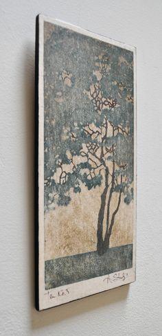 Original Hand Pulled Woodblock Print - Mounted and Ready to Hang Tree No. 5 OOAK Moku Hanga via Etsy