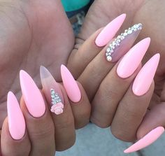 Love the pink with a clear nail