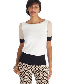 A neutral notion to sleek style— elbow sleeve pullover with chic bateau neckline and colorblocked touches for flattering details. Simple yet full of attitude, this top is easily dressed up or down.