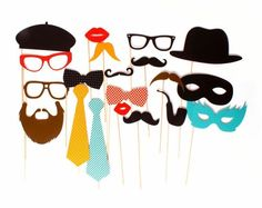 Requisiten Photo Booth, 20 Teile,  der Partyspaß, tolle Fotos machen.   Requisiten: Schnurrbärte, Hüte, Krawatten,  aus Papier mit Holzstab   ...