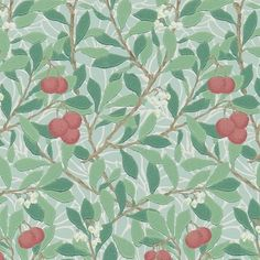 Arbutus Wallpaper Designed by Kathleen Kersey, a member of Morris & Co's design team from the early twentieth century, the Arbutus wallpaper features a charming leaf and berry design in shades of blue & raspberry red.