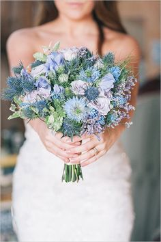 Country style bouquet consiting of blue delphinium and hydrangea fresh new blue wedding bouquets we adore junglespirit Images