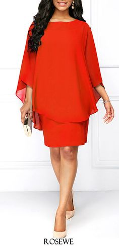 Round Neck Orange Red Chiffon Overlay Dress. Rosewe chiffon dress Women s  Fashion 9a33dcd8b