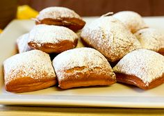 """A super nice lil' treat to slip something New Orlean""""ish"""" into your day. :) Love me some beignets! Köstliche Desserts, Delicious Desserts, Dessert Recipes, Yummy Food, Donut Recipes, Sweet Desserts, New Orleans Beignets Recipe, Beignet Recipe, Biscuits"""
